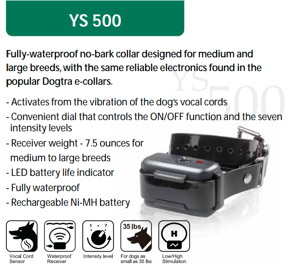 Dogtra YS500 No Bark Collar features